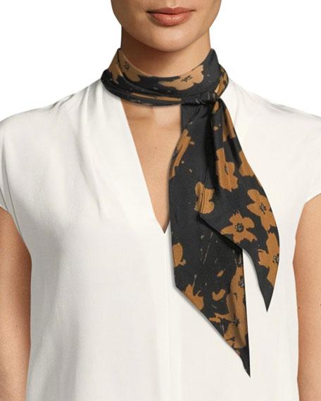 Splatter Flowers Silk Necktie Scarf