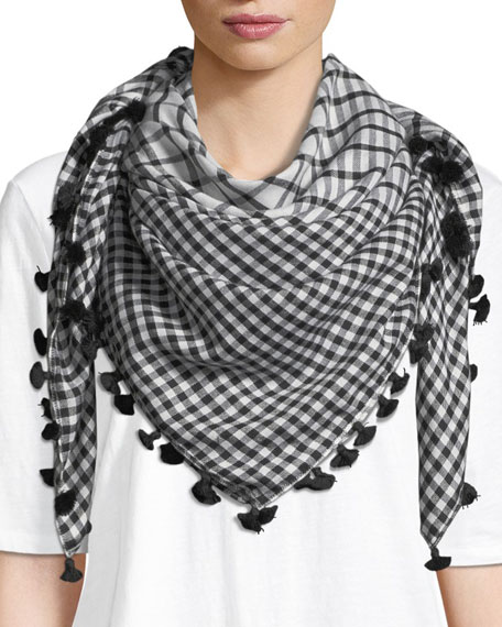 Eileen Fisher Gingham Cotton-Silk Square Scarf