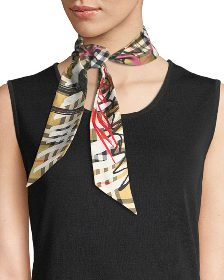 Burberry Scribble Check Silk Twill Slim Scarf
