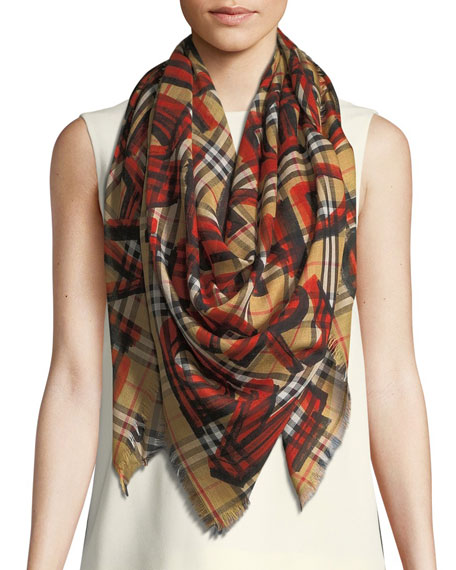 Burberry Graffiti-Print Check Wool-Silk Large Square Scarf