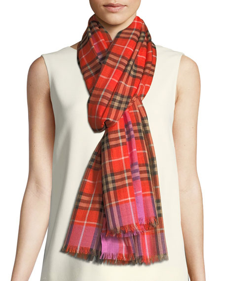 Vintage Check Wool-Silk Scarf