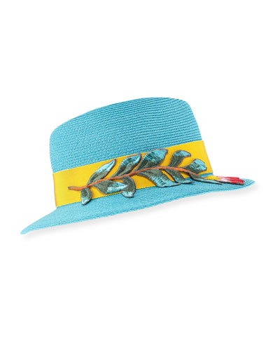 Florence Hemp-Blend Panama Hat w/ Hat Band & Embroidery