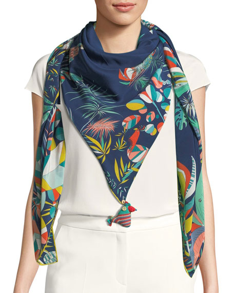 RUMISU FEISTY TROPICAL PRINTED SILK SCARF, BLUE
