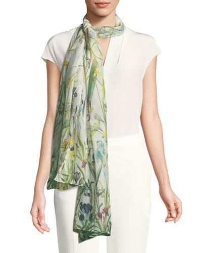 Hensley Silk Chiffon Floral Scarf