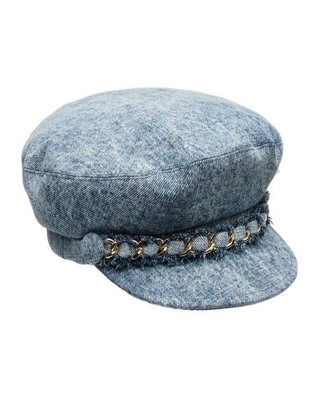 Eugenia Kim Marina Denim Newsboy Hat with Chain