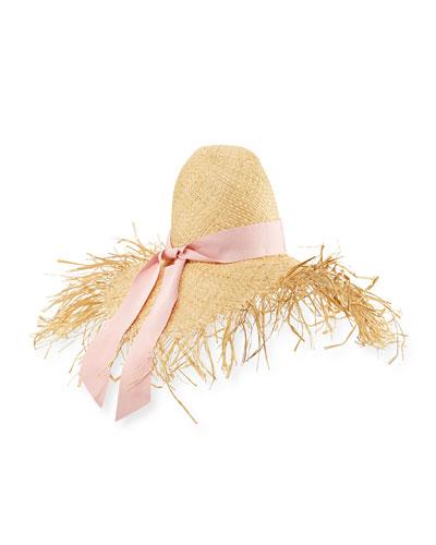 Été Frayed-Brim Raffia Sun Hat