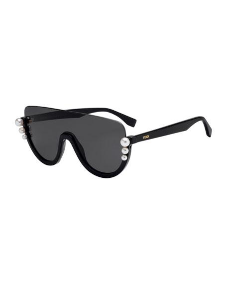 Fendi Semi-Rimless Solid Pane Shield Sunglasses w/ Pearly