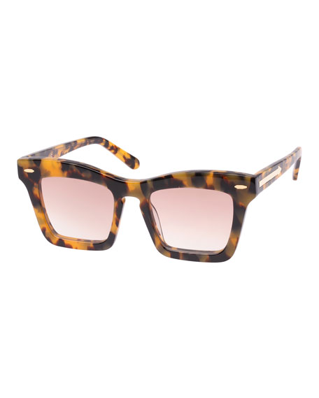 Karen Walker Banks Rectangle Acetate Sunglasses, Brown Pattern
