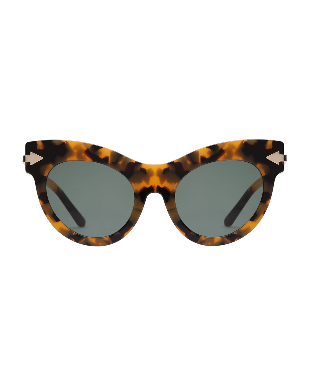 5cc1624f6aaf Karen Walker Miss Lark Tortoise Cat-Eye Sunglasses | Neiman Marcus