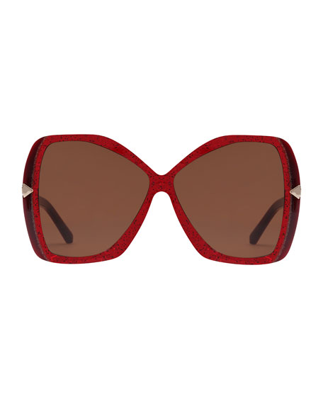 Karen Walker Mary Acetate Butterfly Sunglasses, Red Pattern