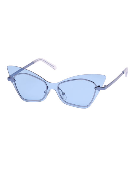 Karen Walker Mrs. Brill Cat-Eye Semi-Rimless Sunglasses, Blue