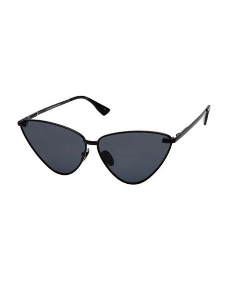 Le Specs Luxe Nero Angled Metal Cat-Eye Sunglasses