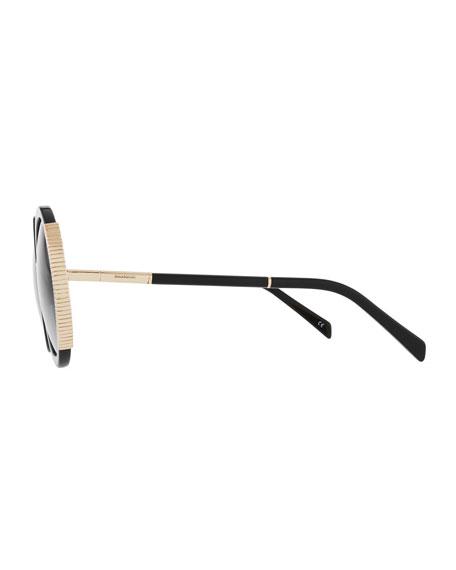 Round Gradient Acetate Sunglasses w/ Ridged Metal Trim