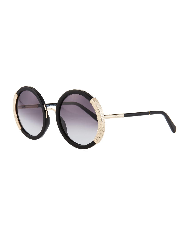 217541a4cf2 Balmain Round Gradient Acetate Sunglasses w  Ridged Metal Trim ...