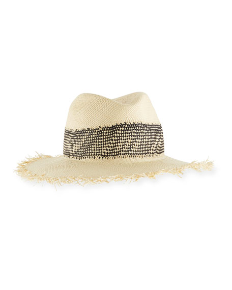 Frayed-Edge Panama Hat w/ Woven Band