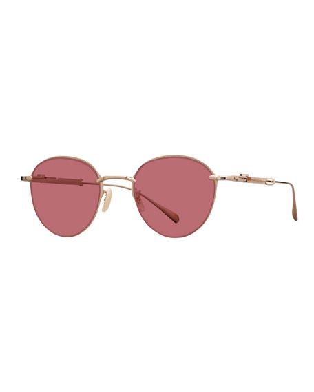 Mr. Leight 12K White Gold Plated Titanium Round Sunglasses, Gold