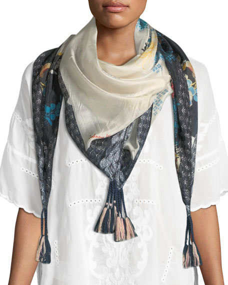 Johnny Was Vino Tasseled Floral-Print Silk Scarf