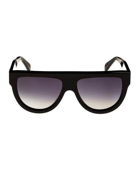 Celine Flattop Gradient Shield Universal-Fit Sunglasses, Black Pattern