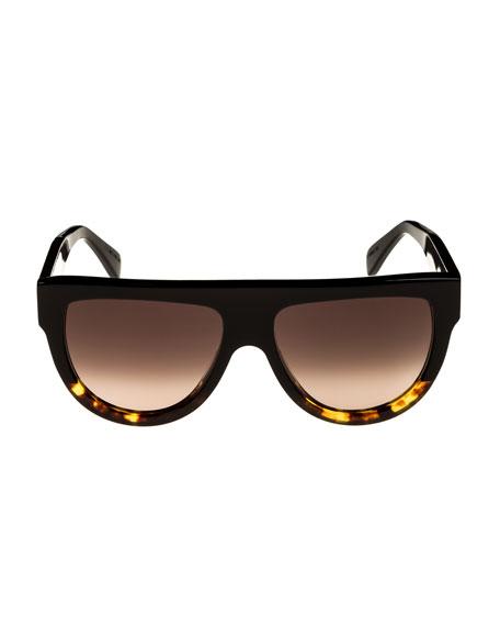 Flattop Two-Tone Shield Adjusted-Fit Sunglasses, Black Pattern