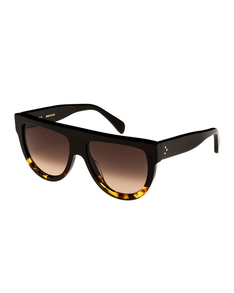 Celine Flattop Two-Tone Shield Adjusted-Fit Sunglasses, Black