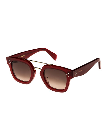 Square Gradient Acetate & Metal Sunglasses, Red Pattern