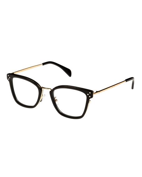 Square Acetate & Metal Optical Frames, Black