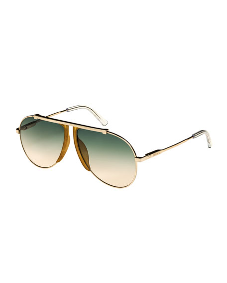Metal/Acetate Pilot Sunglasses