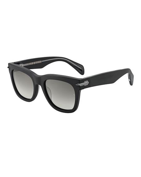 Rag & Bone Polarized Round Acetate Sunglasses w/ Metal Trim