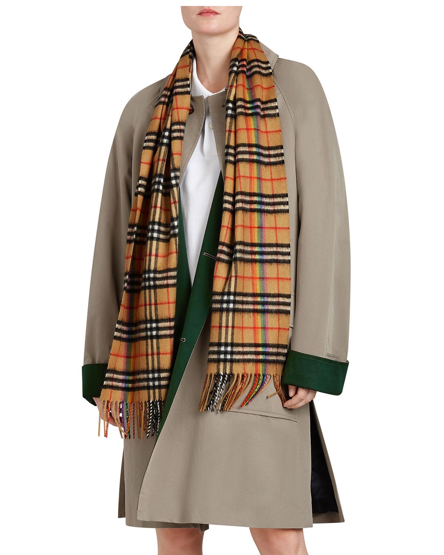 Burberry Vintage Rainbow Check Cashmere Scarf Neiman Marcus