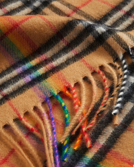 Vintage Rainbow Check Cashmere Scarf