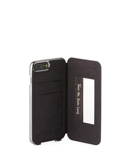 Mirrored Metallic Leather Folio Phone Case for iPhone 7/8 Plus