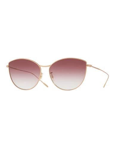 Rayette Vintage-Inspired Metal Cat-Eye Sunglasses  Rose Gold