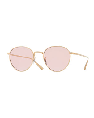 88b778ea81d Oliver Peoples Brownstone Photochromic Round Titanium Sunglasses
