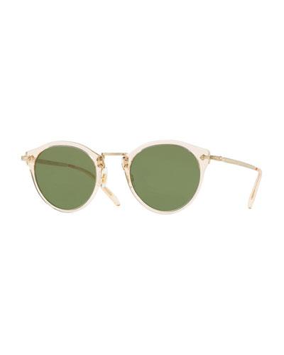 Semitransparent Acetate & Metal Round Sunglasses