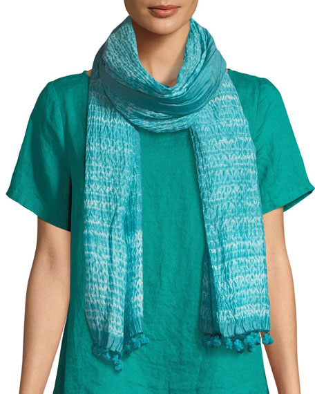 Hand-Loomed Organic Cotton/Silk Shibori Scarf