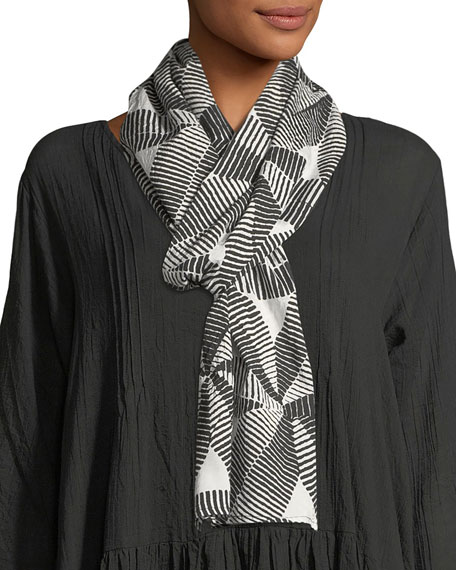 Along Striped Flower-Print Scarf
