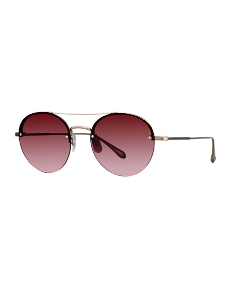 Garrett Leight Beaumont Semi-Rimless Round Sunglasses