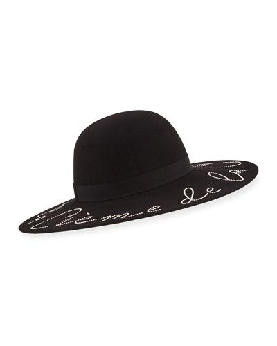 Honey Crème de la Crème Crystal-Embellished Wool Hat