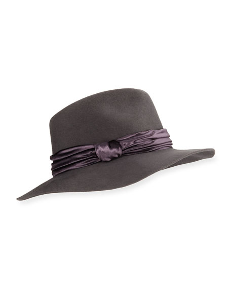 Georgina Wool Fedora Hat w/ Panne Velvet Trim