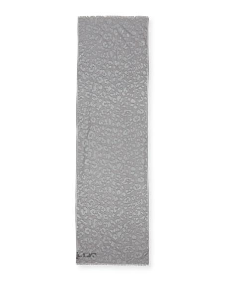 Metallic Animal-Print Jacquard  Scarf