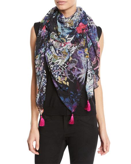 Fuzzi Tasseled Floral-Print Tulle Scarf