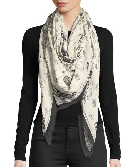 Alexander McQueen Heirloom Pins Square Printed Scarf