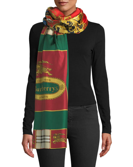 Burberry Horse Crest Silk Scarf