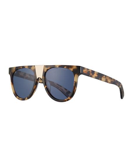 Flattop Acetate Sunglasses W/ Contrast Metal Nose Bridge in Khaki Tortoise