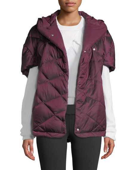 THE NORTH FACE Far Northern Down Capelet W/ Hood in Shiny Fig
