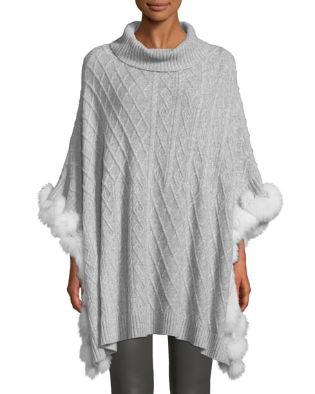 Luxury Cashmere Cable-Knit Poncho with Fur Trim
