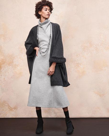 Luxury Cashmere Kimono Cardigan w/ Fur Cuffs