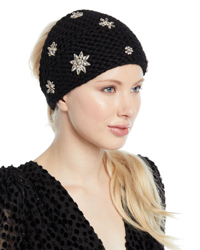 Calito Knit Head Wrap w/ Crystal Snowflakes