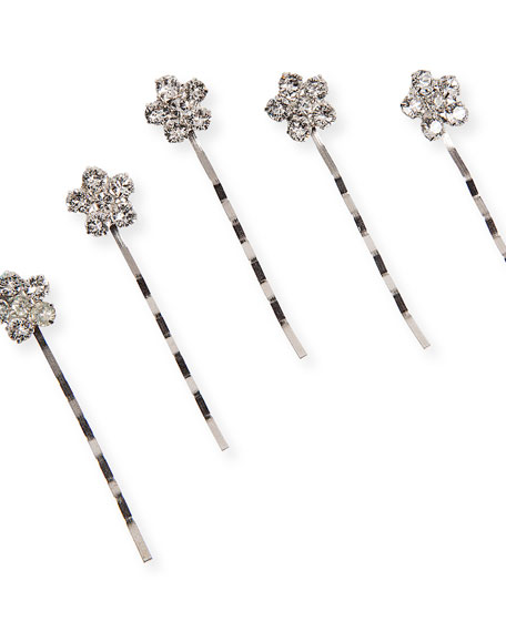 Violet Swarovski Crystal Floral Bobby Pins, Set of 5