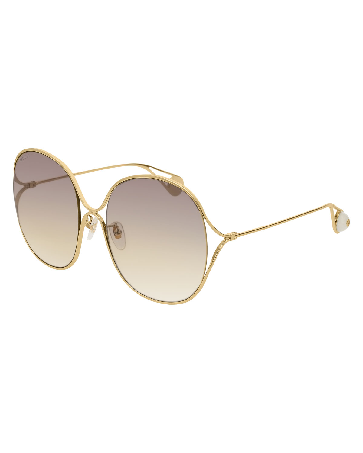 63cfd9ee5 Gucci Round Open-Temple Metal Sunglasses | Neiman Marcus